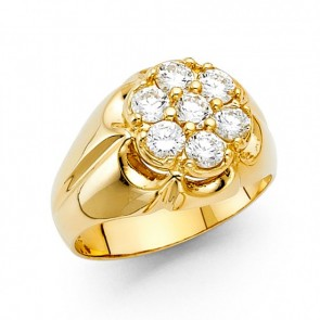 EJMR29538 - Men's Solid 14K Yellow Gold CZ Signet Ring
