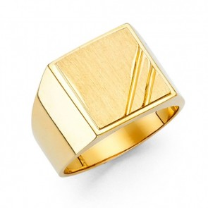 14K Yellow Square Signet Ring EJMR29819