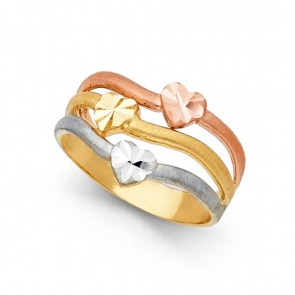 14K tricolor Hearts ring EJLR30445A