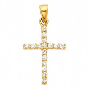 14K yellow CZ cross EJCR33601