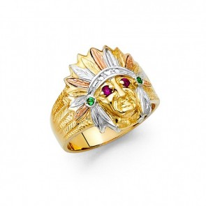 14K Tricolor Indian Chief Ring EJMR34315
