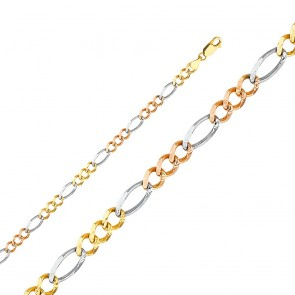 "14K tricolor 5.5mm Figaro 24"" chain EJCN35406"