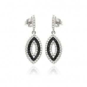 EJACE00069 - Elegant Sterling Silver Marquise dangle earrings with CZ accents