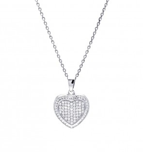 EJACP00047 - Fancy Sterling Silver Micropave CZ Heart pendant