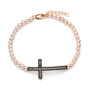 EJBGB00109 - Fancy sterling silver cross bracelet with pearls