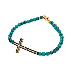EJBGB00120 - Fancy sterling silver cross bracelet with Turquoise beads