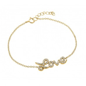 EJBGB00188GP - Elegant sterling silver LOVE gold plated CZ bracelet