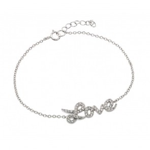 EJBGB00188RHD - Elegant sterling silver LOVE Bracelet with CZ accents