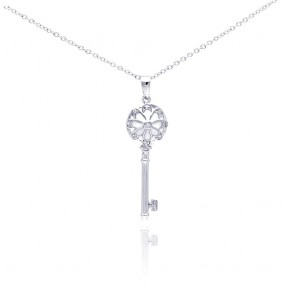EJBGP00289 - Fancy Sterling silver key pendant with white enamel