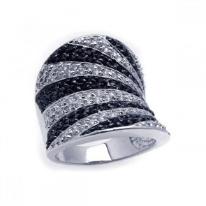 EJBGR00135 - Fancy Sterling Silver ring with black and white CZ strips
