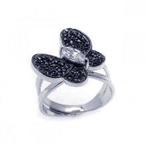 EJBGR00137 - Fancy Sterling Silver Butterfly ring with black and white CZ accents