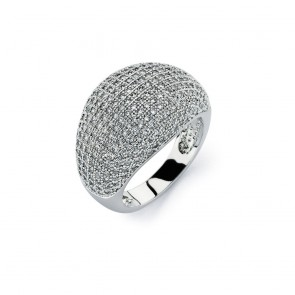 EJBGR00756C -  Fancy Sterling Silver domed ring with CZ accents