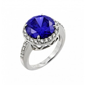 EJBGR00780 - Classic Sterling silver ring with Tanzanite center