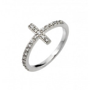 EJBGR00783RHD - Elegant sterling silver Cross ring with CZ accents
