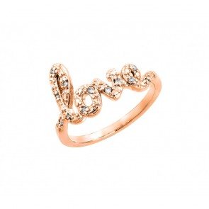 EJBGR00787RGP - Elegant sterling silver LOVE ring rose gold plated with CZ accents
