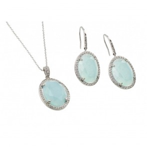 EJBGS00411 - Elegant sterling silver Light Blue stone set