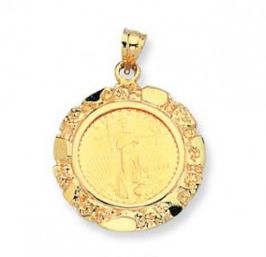 EJCM34819 - 22K 5$ American Eagle Coin in 14K Nugget Pendant