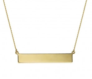 EJCMN875 - Shiny 14K Yellow Gold Engravable Name Bar Necklace