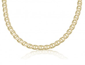 14K Yellow Gold 7mm Concave Mariner Bracelet 8 inches