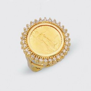 22K 5$ American Eagle Coin in 14K Ring