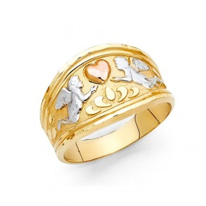 14K tricolor gold Angels & heart ring EJRG2108