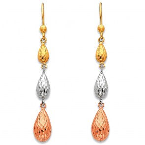 14K tricolor pear earrings EJER388