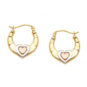 14K tricolor Heart earrings EJER797