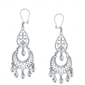 14K white filigree earrings EJER898