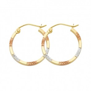 14K tricolor D/C hoop earrings EJER0956