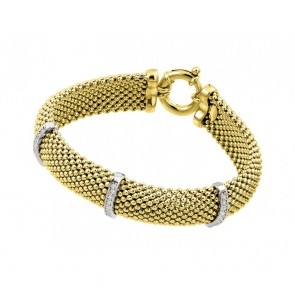 EJJPB00002GP - Italian Silver bracelet Yellow Gold Plated Rhodium Finish