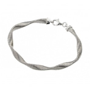 EJJPB00006 - Italian wave design silver bracelet in Rhodium finish
