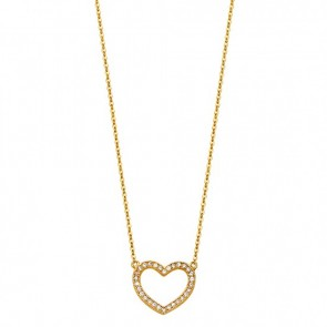 14K yellow CZ Heart necklace EJNK0089