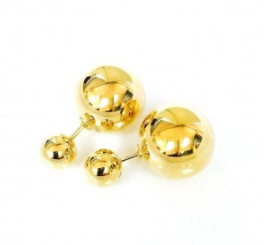EJER7188 - 14K Yellow Gold Shiny Ball Stud Earrings 14mm