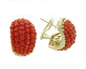 14K yellow gold Coral earrings EJER18100C