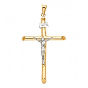 14K two tone gold INRI crucifix EJCR27922