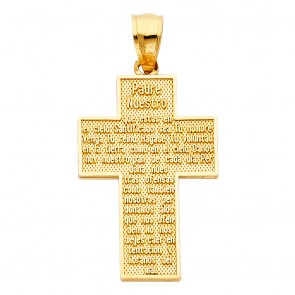 14K yellow Padre Nuestro cross EJPT1028