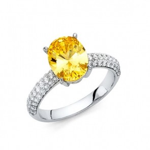14K white gold Citrine ring EJRG1326