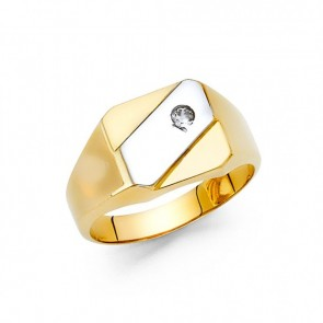 14K Two Tone Signet Ring EJRG1472