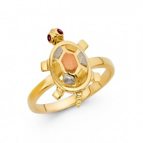 EJLRG1694 - Fancy 14K gold TURTLE ring with red CZ accents
