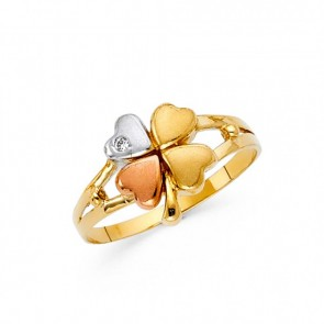 14K tricolor gold Clover ring EJLRRG1724