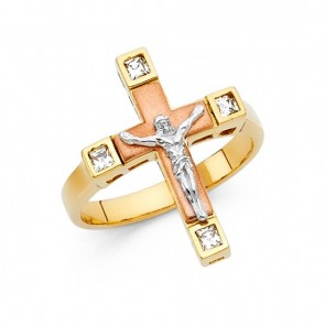 14K tricolor Crucifix ring EJRG1734