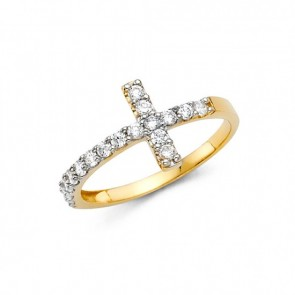 14K yellow Sideways Cross ring EJ14110CZ