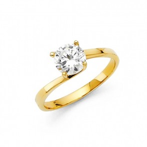 14K yellow CZ engagement ring EJLRCZ04
