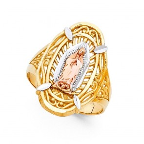 14K tricolor gold religious Guadalupe ring EJRG609