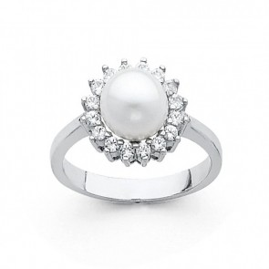 14K white gold Pearl ring EJRG692
