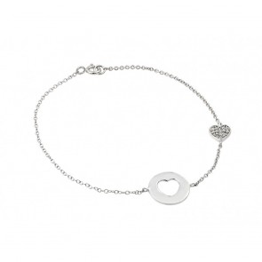 ESTB00498 - Elegant sterling silver heart  Bracelet with CZ accents