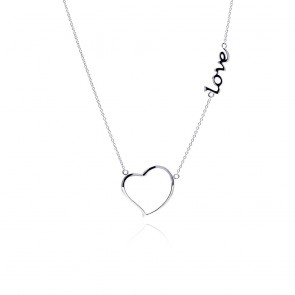 EJSTP01128 - Fancy Sterling Silver Heart and LOVE necklace