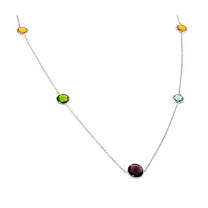 EJSTP01333 - Beautiful Sterling silver necklace with multicolor CZ stones