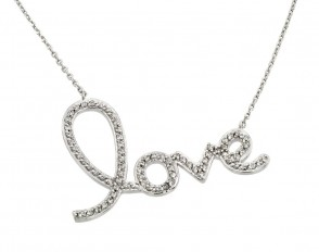 EJSTP01371 - Elegant sterling silver LOVE CZ necklace