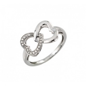 EJSTR00952 - Solid 925 Sterling Silver 2 Hearts CZ ring